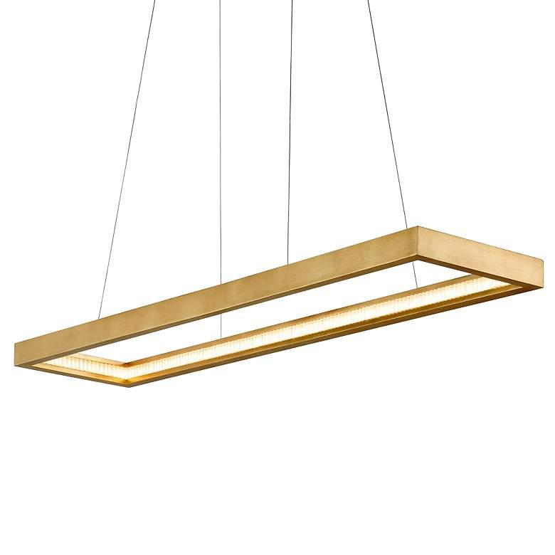 "Jasmine 60"" Wide Gold Leaf LED Kitchen Island Light Pendant"