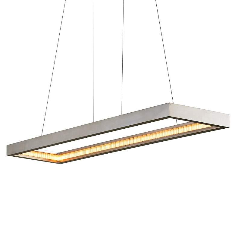 "Jasmine 60""W Silver Leaf LED Kitchen Island Light Pendant"