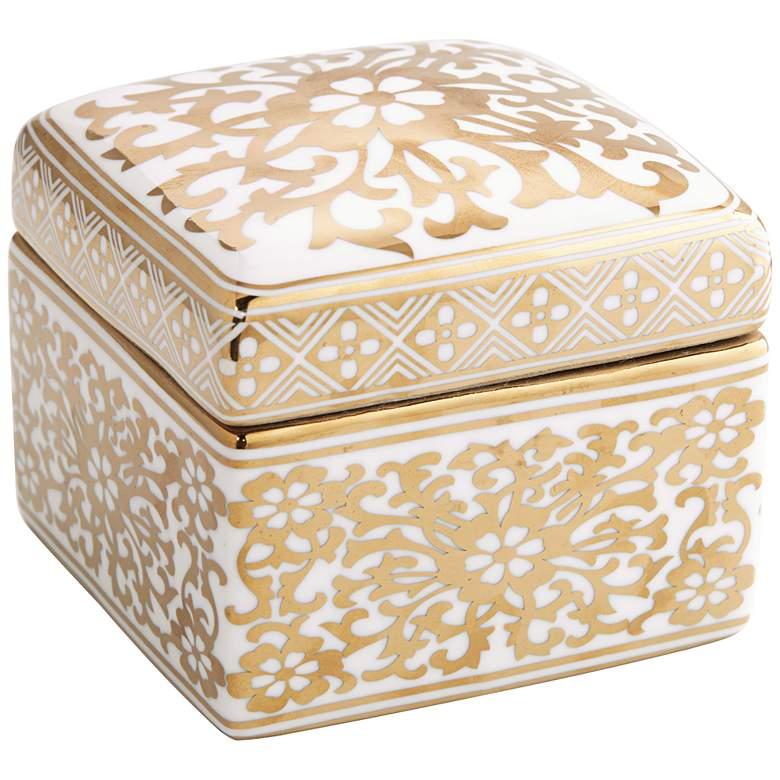 """Verona 4 1/2""""W White and Gold Ceramic Covered Decorative Box"""