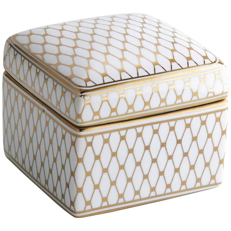 """Verona 4 1/2"""" Wide White and Gold Ceramic Decorative Box"""