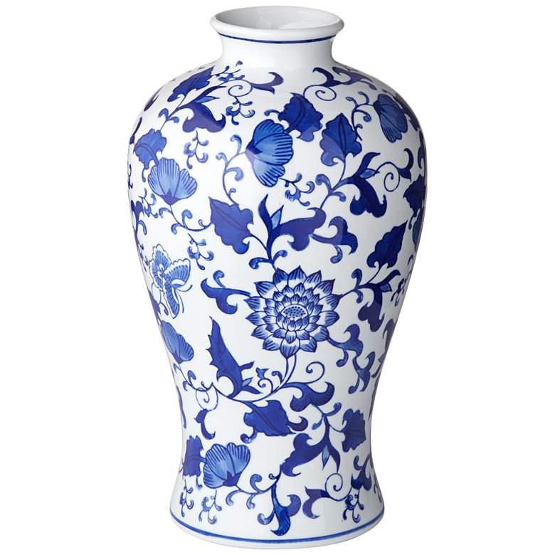 """Emporia 12 1/2"""" High White and Blue Ceramic"""