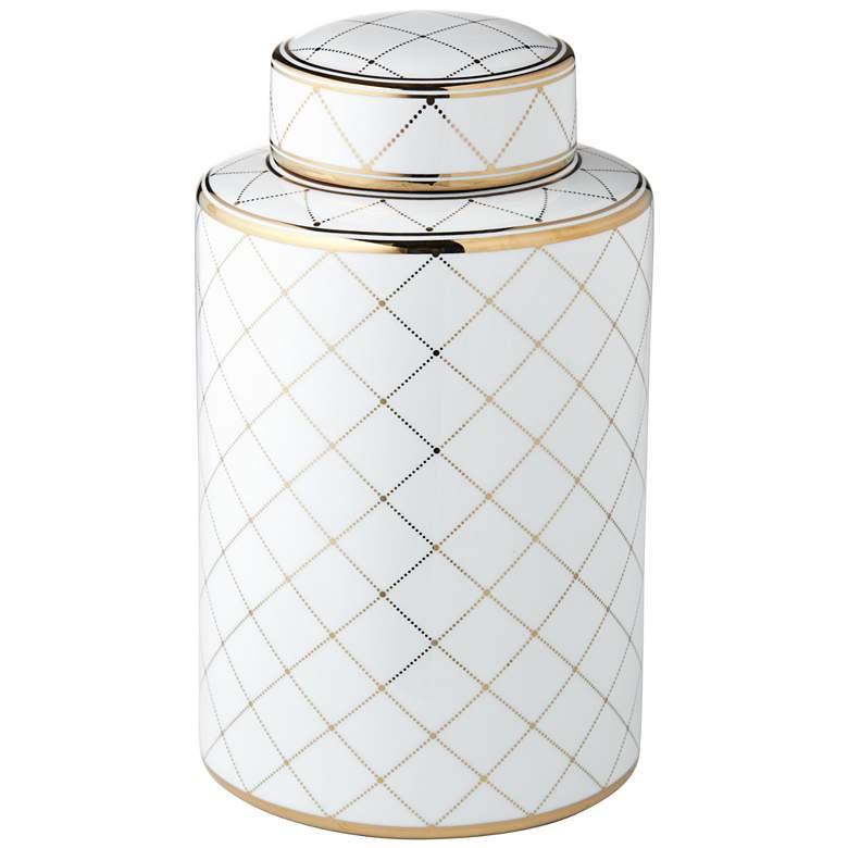 "Verona 11 3/4"" High White and Gold Ceramic Decorative Jar"