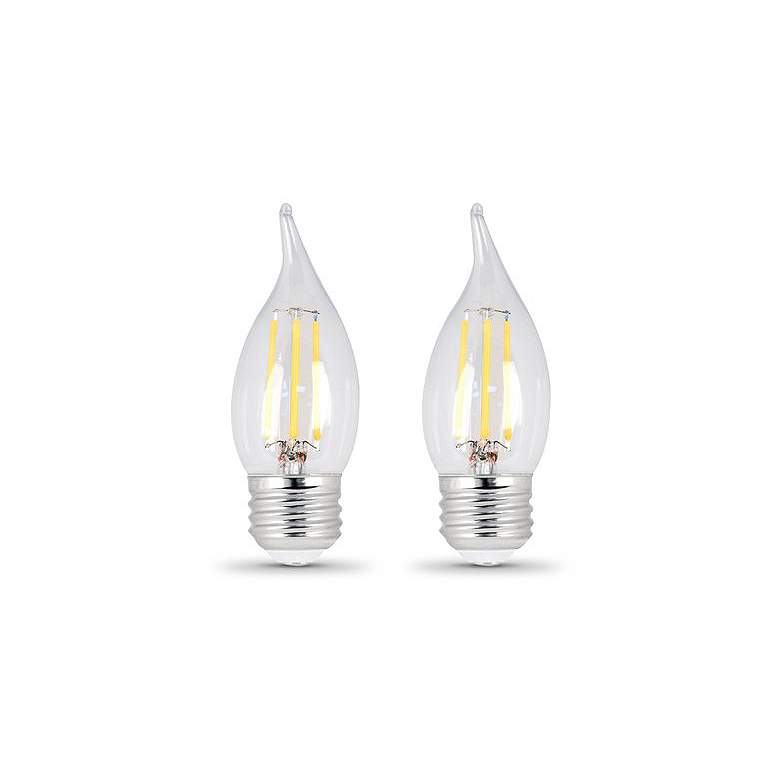 60W Equivalent Clear 6W LED Dimmable E26 Flame 2-Pack