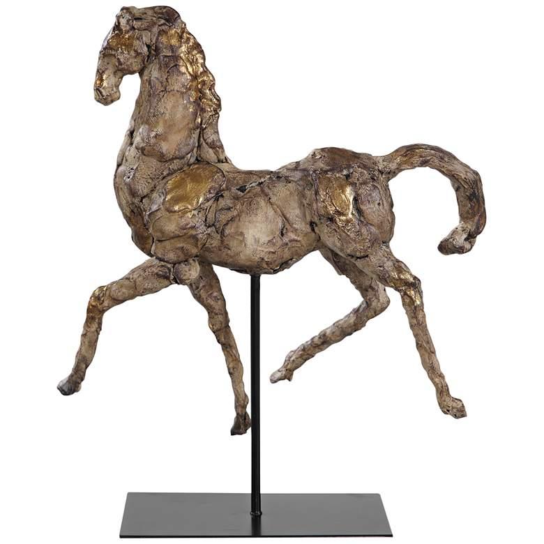 """Caballo Dorado 16 1/2""""W Aged Silver w/ Gold Horse Sculpture"""