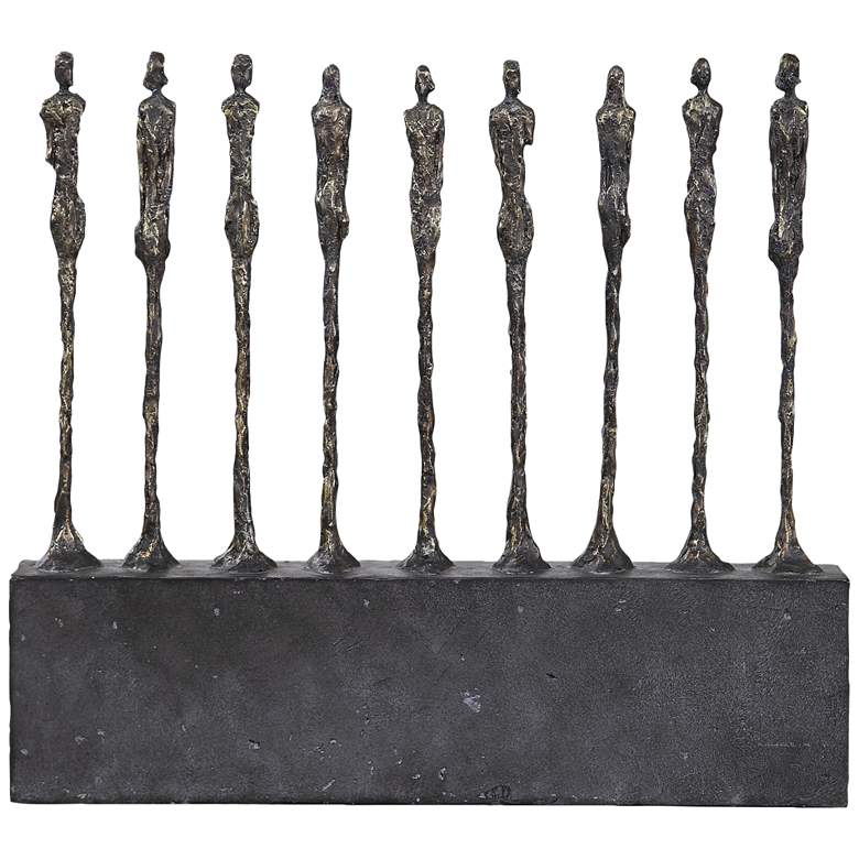 """Stand Together 21"""" High Aged Gold and Black Statue"""