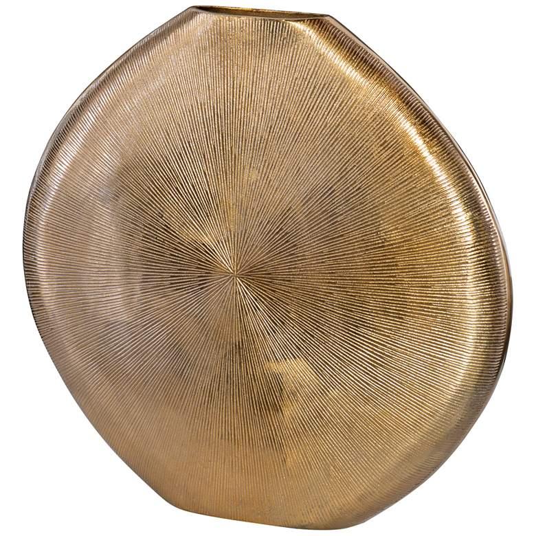 """Uttermost Gretchen 23"""" High Ribbed Gold Vase"""