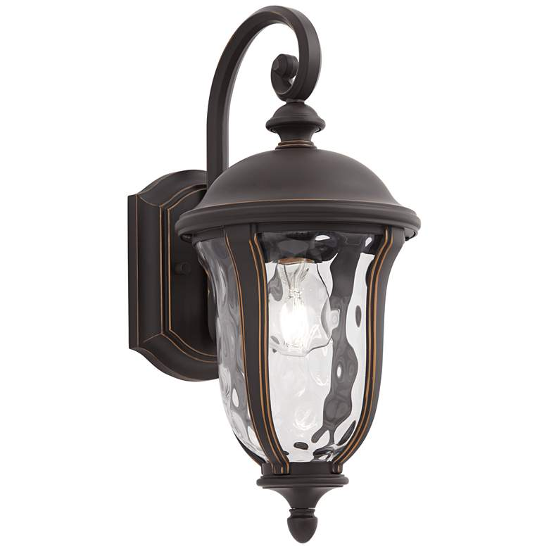"Park Sienna 16 3/4""H Bronze and Glass Outdoor Wall Light"