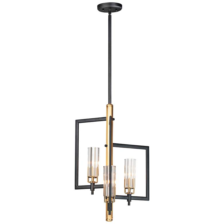 "Flambeau 12 3/4"" Wide Black Antique Brass 3-Light Pendant"