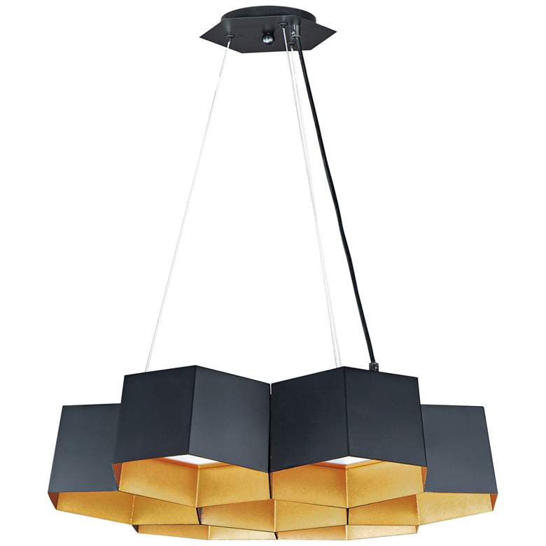 "Honeycomb 22 1/2"" Wide Black Gold 7-Light LED Pendant Light"