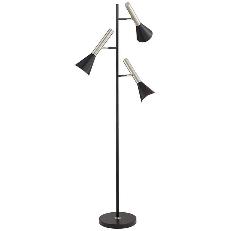 Kendall Black 3-Light Tree Floor Lamp with Adjustable Shades