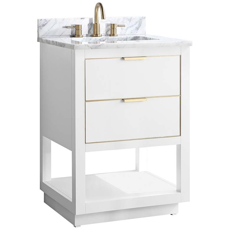 """Allie 25"""" Wide White with Carrara Marble Single Sink Vanity"""