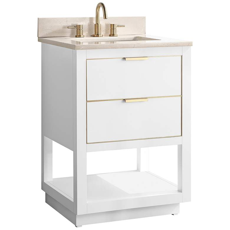 "Allie 25""W White with Crema Marfil Marble Single Sink Vanity"
