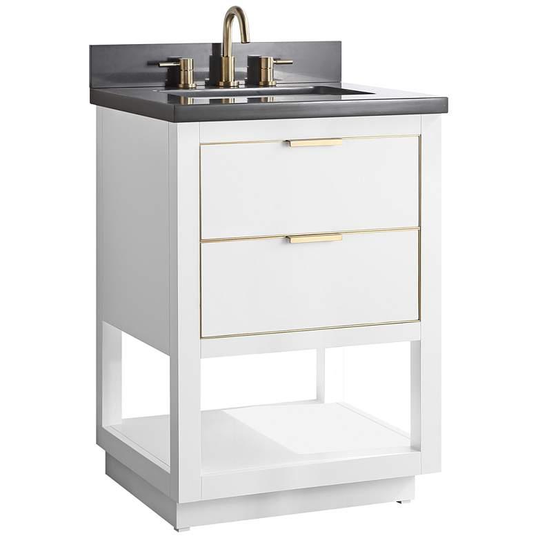 "Allie 25"" Wide White with Gray Quartz Single Sink Vanity"