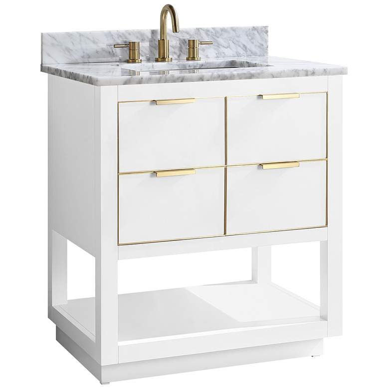 "Allie 31"" Wide White with Carrara Marble Single Sink Vanity"