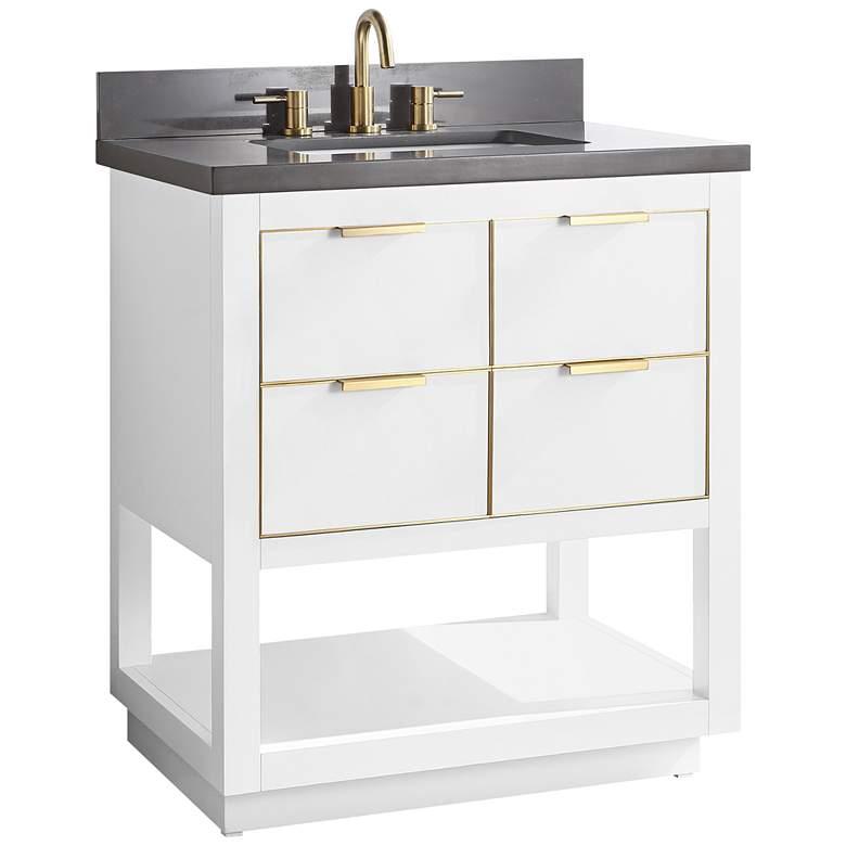 "Allie 31"" Wide White with Gray Quartz Single Sink Vanity"