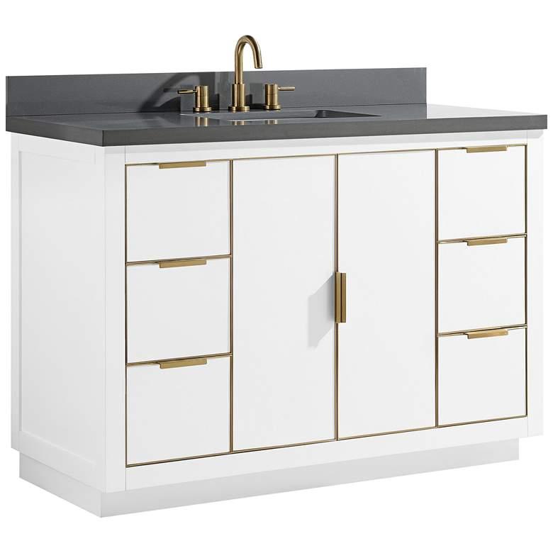 "Austen 49"" Wide White with Gray Quartz Single Sink Vanity"