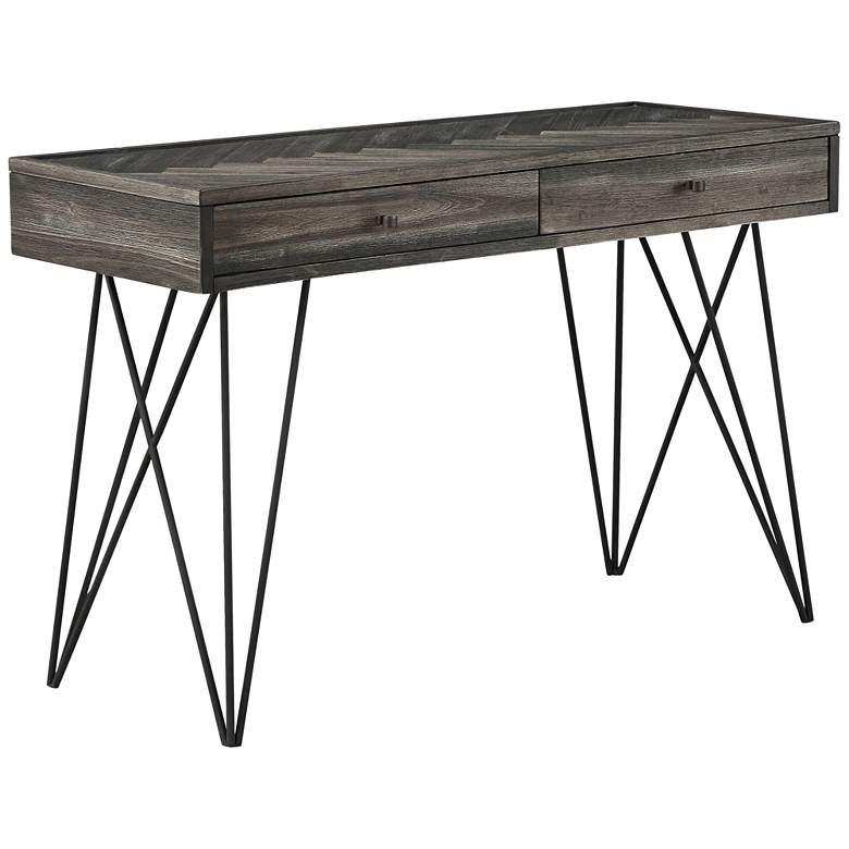 "Aspen Court 47"" Wide Herringbone Wood 2-Drawer Console Table"