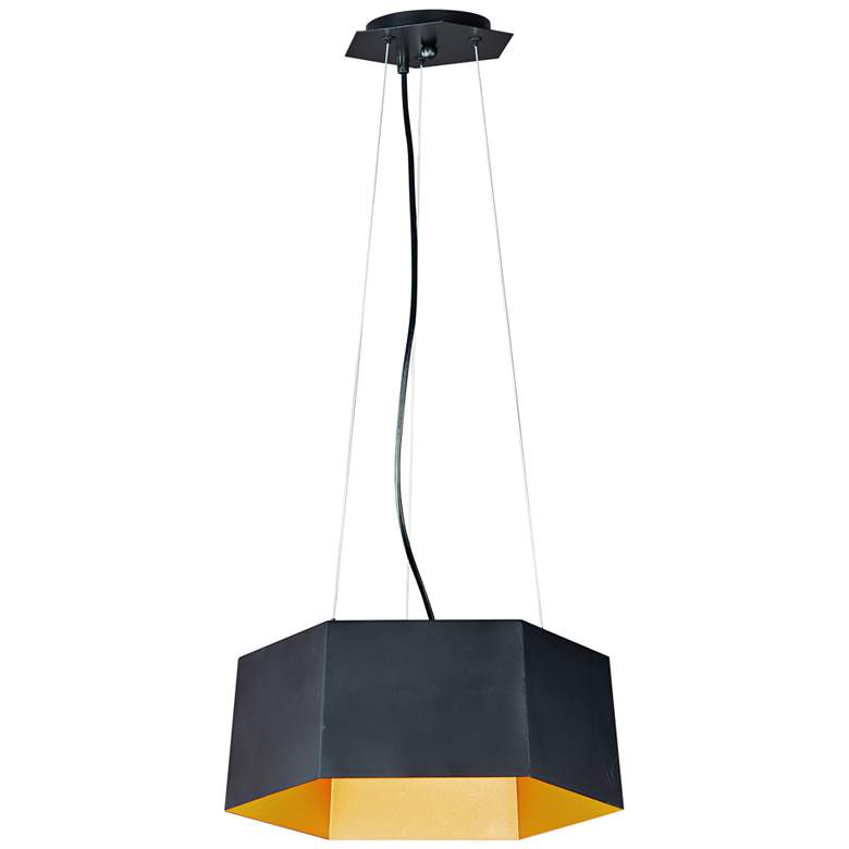 "Maxim Honeycomb 16"" Wide Black and Gold LED Pendant Light"