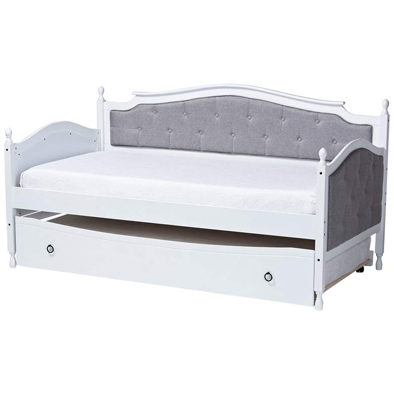 Baxton Studio Marlie White Twin Daybed w/ Roll-Out Trundle