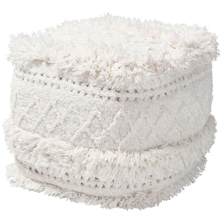 Baxton Studio Curlew Ivory Moroccan Inspired Pouf Ottoman