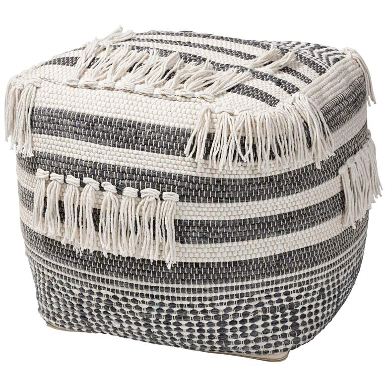 Kirby Gray and Ivory Moroccan Inspired Pouf Ottoman