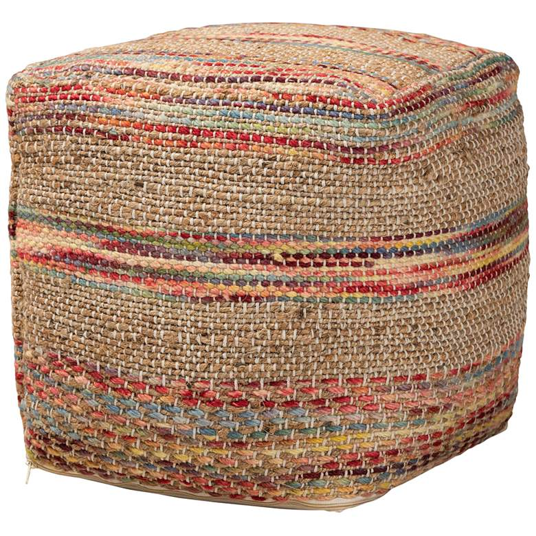 Caiman Multi Red and Natural Moroccan Inspired Pouf Ottoman