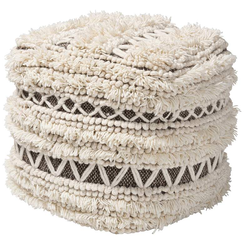 Vesey Beige and Brown Moroccan Inspired Pouf Ottoman