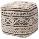 Cronin Beige and Brown Moroccan Inspired Pouf Ottoman