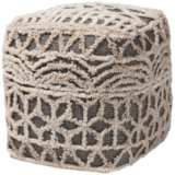 Avery Beige and Brown Moroccan Inspired Pouf Ottoman