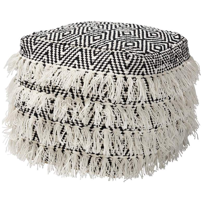 Alain Black and Ivory Moroccan Inspired Tassel Pouf Ottoman