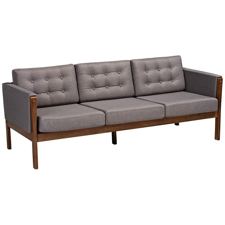 "Baxton Studio Lenne 75""W Gray and Walnut Brown Tufted Sofa"