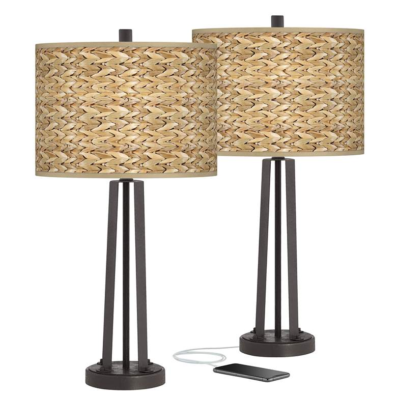 Seagrass Print Susan Dark Bronze USB Table Lamps Set of 2
