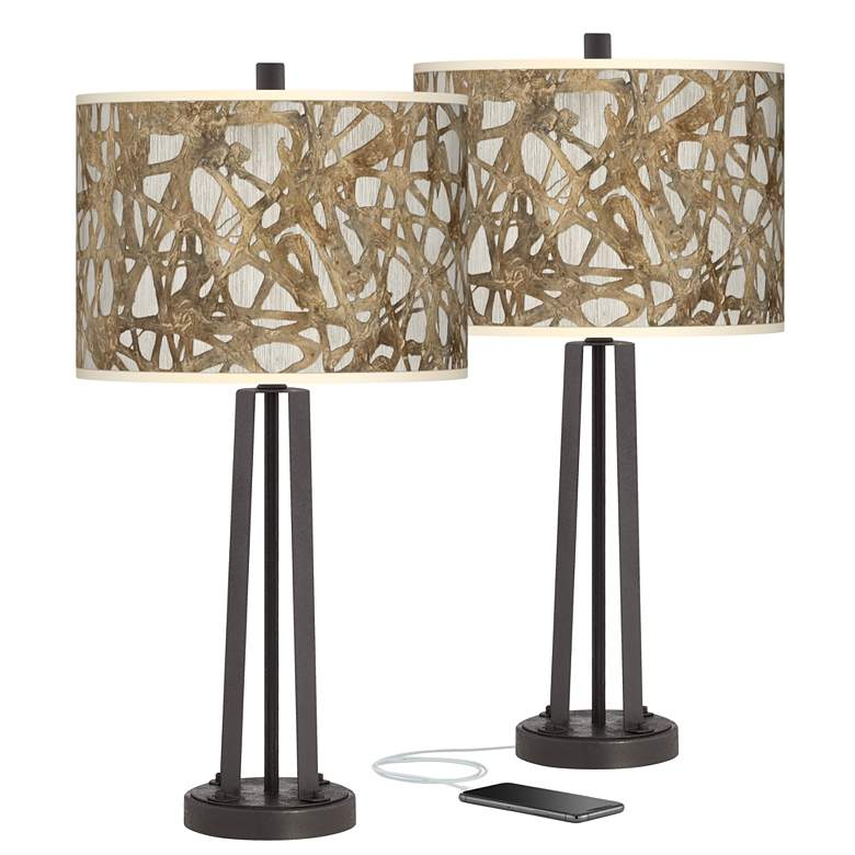 Organic Nest Susan Dark Bronze USB Table Lamps Set of 2