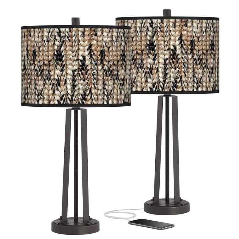 Braided Jute Susan Dark Bronze USB Table Lamps