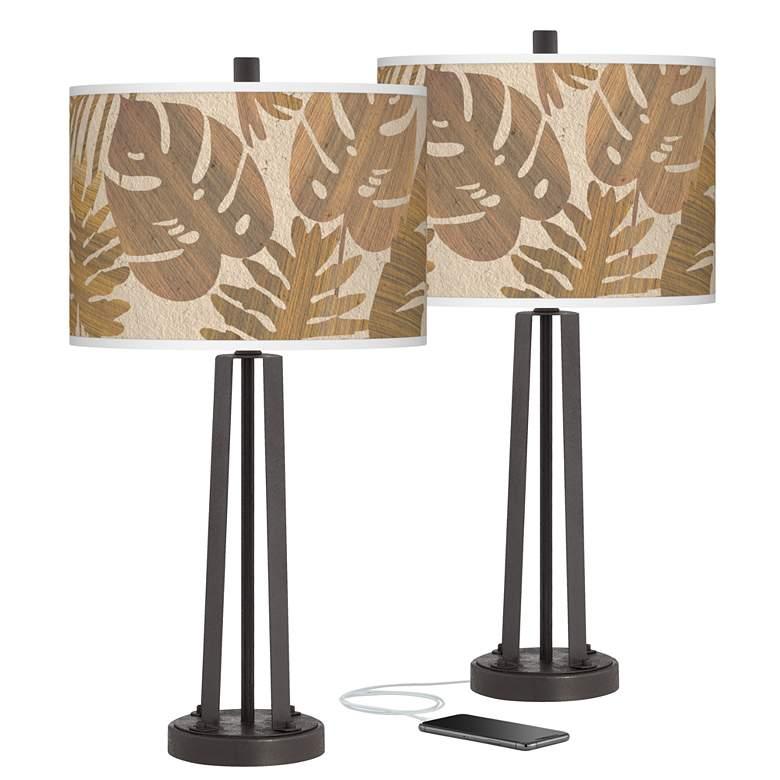Tropical Woodwork Susan Dark Bronze USB Table Lamps Set of 2