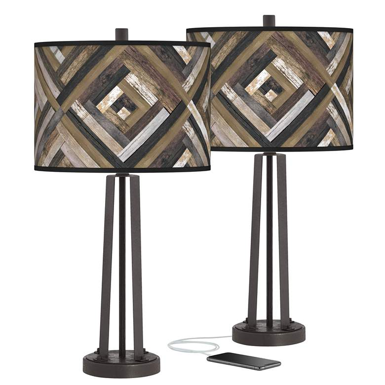 Woodwork Diamonds Susan Dark Bronze USB Table Lamps Set of 2