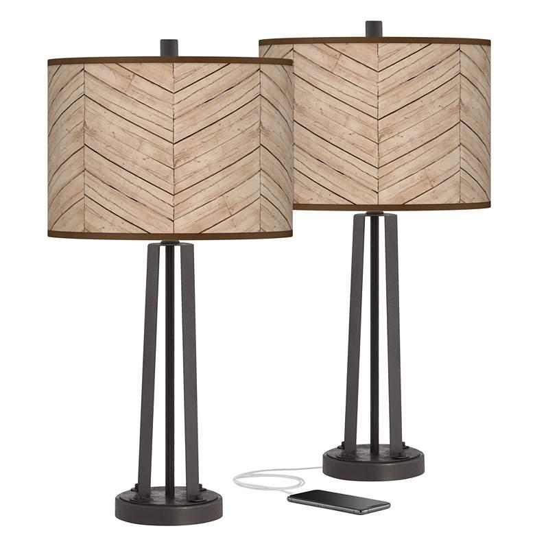 Rustic Woodwork Susan Dark Bronze USB Table Lamps Set of 2