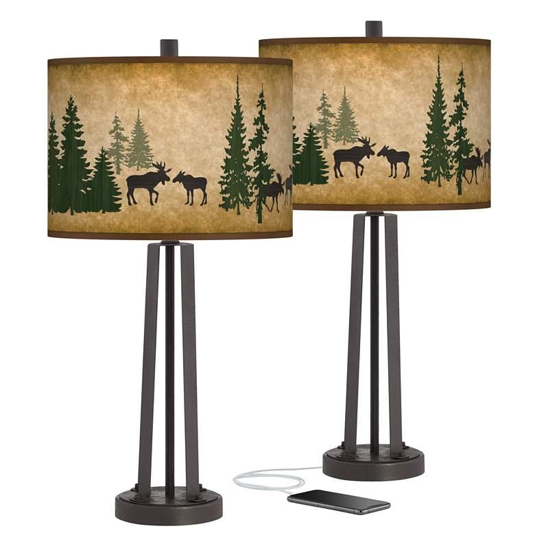 Moose Lodge Susan Dark Bronze USB Table Lamps Set of 2