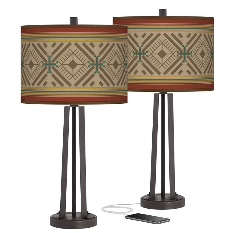 Desert Diamonds Susan Dark Bronze USB Table Lamps Set of 2