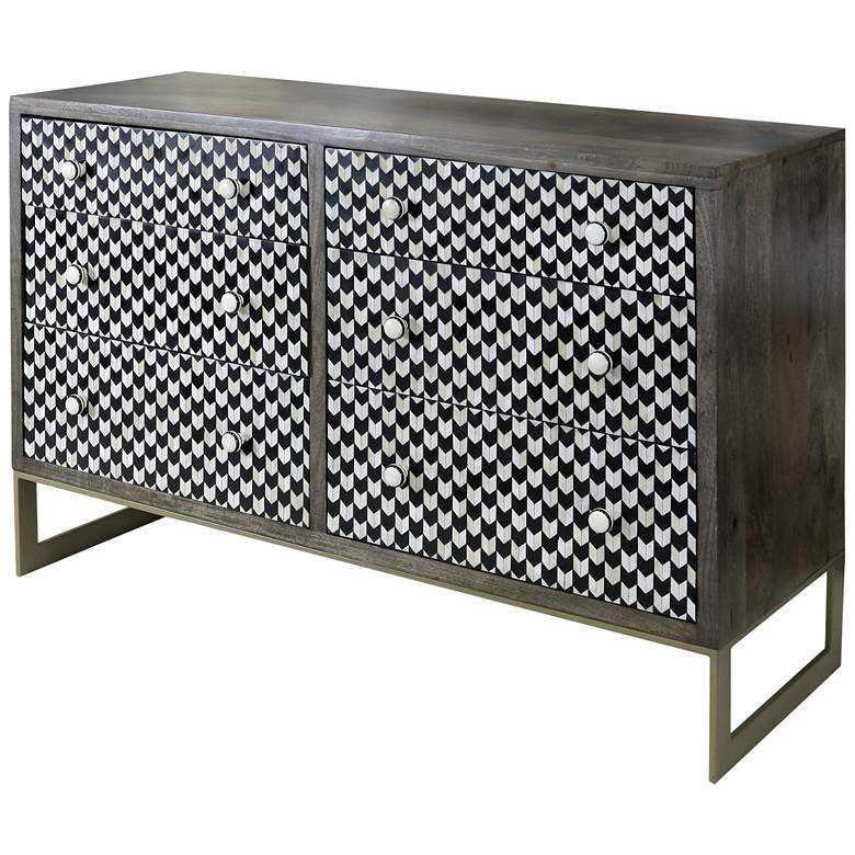 """Jayden 54"""" Wide Black and White Mosaic 6-Drawer Accent Chest"""