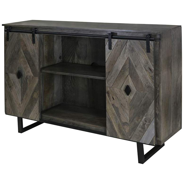 """Wesley 58"""" Wide Slate Gray 2-Door TV Stand Media Cabinet"""