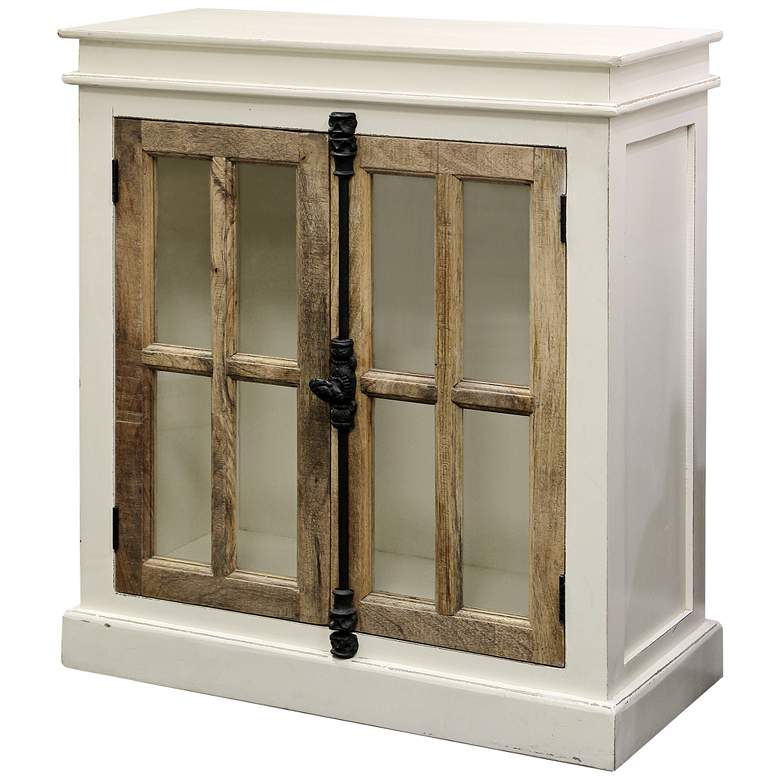 "Tucker 36"" Wide White 2-Door Glass Windowpane Cabinet"