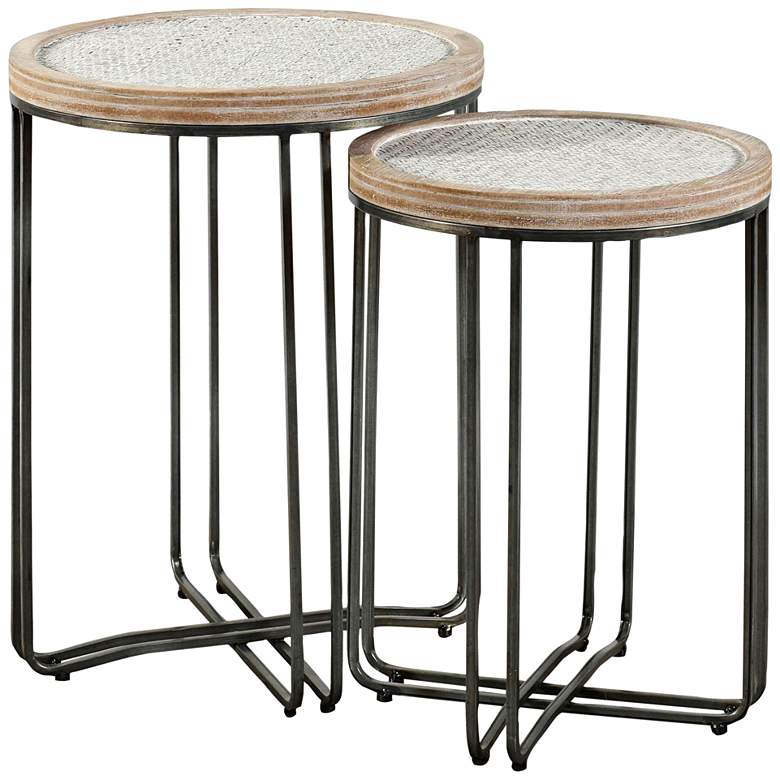 Ryder Black Metal and Woven Rattan Nesting Tables Set of 2