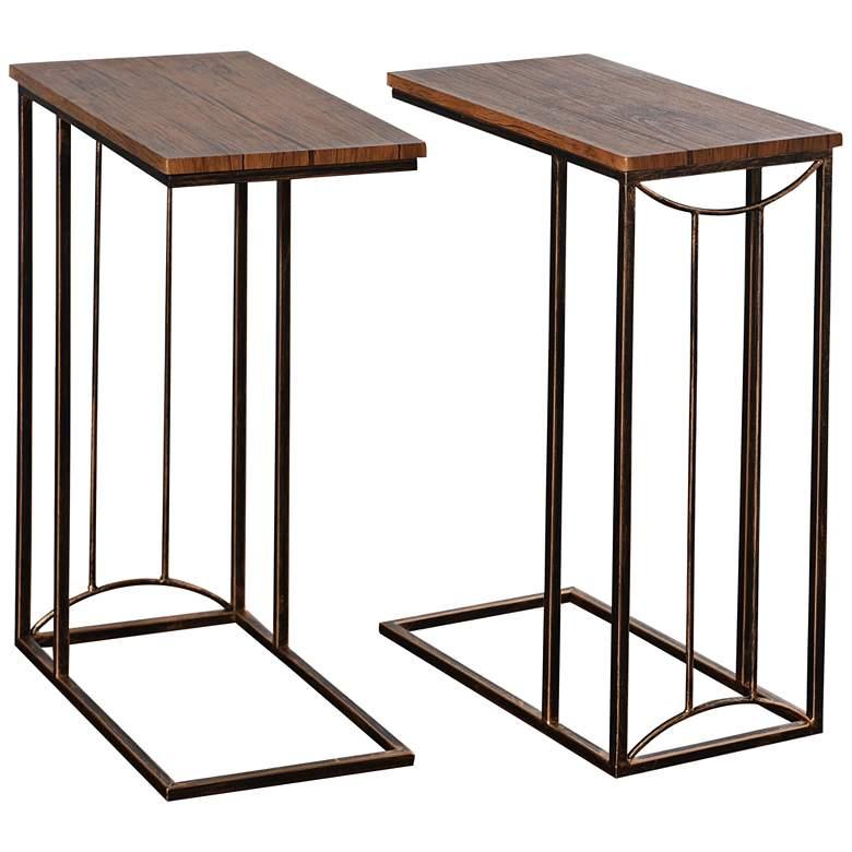 Jayce Aged Oak and Dark Bronze Nesting Side Tables Set of 2