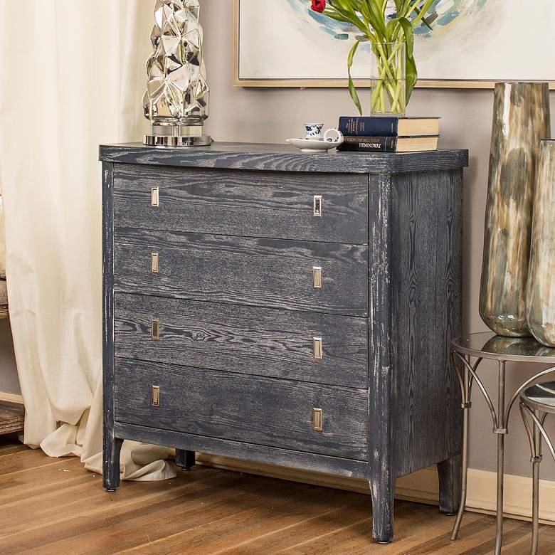 """Klein 36"""" Wide Indigo Blue Ash Wood 4-Drawer Accent Cabinet"""