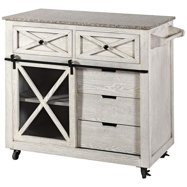 """Granite Top 40"""" Wide White Wash 5-Drawer Kitchen"""