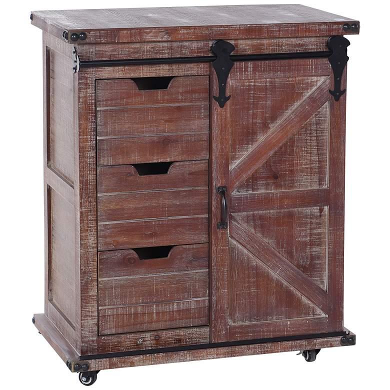 "Graham 33"" High Natural Wood 3-Drawer 1-Door Cart Cabinet"