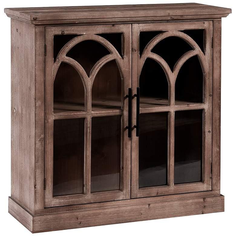 "Light Pine Kitchen Cabinets: Brantley 34"" Wide Light Pine 2-Door Glass Windowpane"