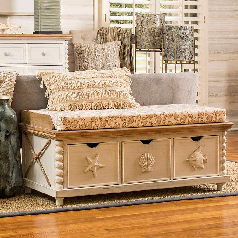 Astonishing Montauk Beige And White Mist Seascape 3 Drawer Storage Bench Creativecarmelina Interior Chair Design Creativecarmelinacom
