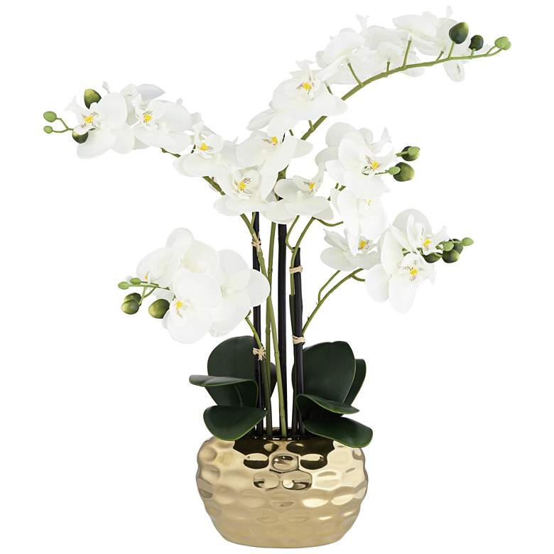 """White Phalaenopsis 23""""H Faux Orchid in Gold Ceramic Pot"""